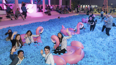 Xerocon included a swimming pool filled with plastic balls and inflatable flamingos.