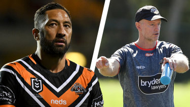 Wests Tigers five-eighth Benji Marshall and coach Michael Maguire.