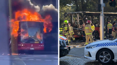 A bus on fire in the Sydney suburb of Glebe on Monday.