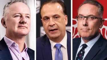 Nine CEO Hugh Marks, ARLC chairman Peter V'landys and Foxtel boss Patrick Delany.
