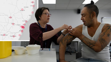 Jayden Poi receives a Pfizer vaccine in Sydney last week.