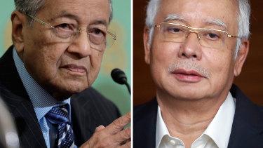 Mahathir Mohamad and his defeated predecessor Najib Razak.