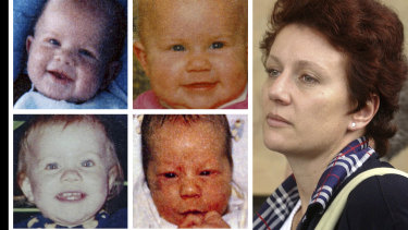 A younger Kathleen Folbigg and her children (clockwise): Patrick, Sarah, Caleb and Laura.