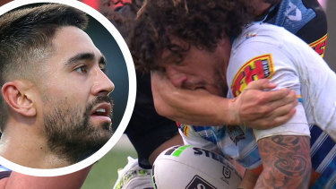 Kevin Proctor was sent off for biting Shaun Johnson.