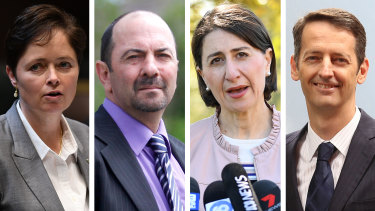 Rebel MPs Tanya Davies, Lou Amato and Matthew Mason-Cox with Premier Gladys Berejiklian (second from right).