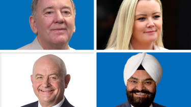 Clockwise: Peter Killin, Jessica Whelan, Gurpal Singh and Jeremy Hearn made controversial comments online which emerged during the 2019 federal election campaign. Only Mr Singh remains as a candidate.
