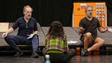 Hugo Weaving (left) and Wayne Blair with director Jessica Arthur in rehearsals for Wonnangatta.