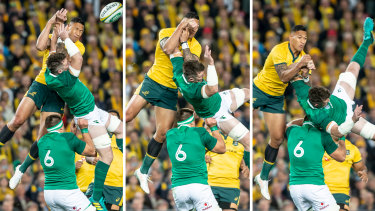 Yellow card: Israel Folau contests a high ball  with Peter O'Mahony.