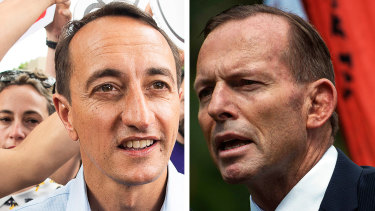 """Dave Sharma (left) has lamented the rise of """"idealogical zealots"""", a likely reference to hard-right MPs like Tony Abbott (right)."""