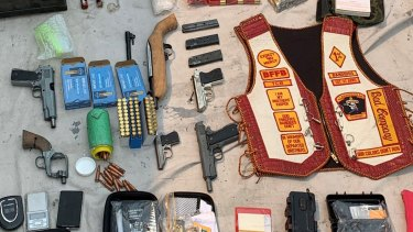 The weapons and paraphernalia seized during the raids in the Moreton Bay region.