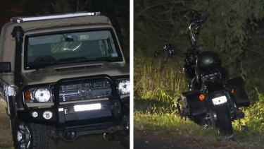 Left: The Toyota LandCruiser police say belongs to Nicola Teo and right, the bike belonging to Jock Ross.