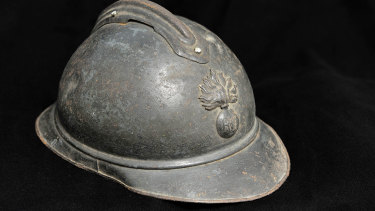An M15 Adrian steel helmet, like the one Canberra man Igor Dopita's great-grandfather Alfred Bernard was wearing when he was shot while serving with the French army in World War I.