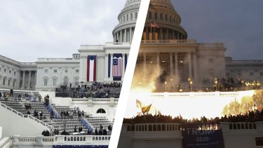 How it started and how it ended: The US Capitol on January 20, 2017 (left) and January 6, 2021 (right).