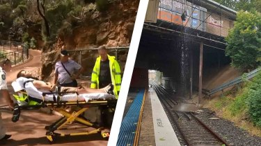 Left, a tourist is taken to hospital after being struck by lightning in the Blue Mountains. Right, part of the station roof fell on the train tracks at Caringbah.