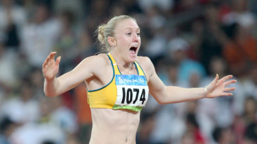 Sally Pearson, then McLellan, after winning silver in Beijing in 2008.
