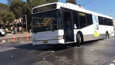 A burst water main caused chaos at Caringbah, with a bus becoming stuck.
