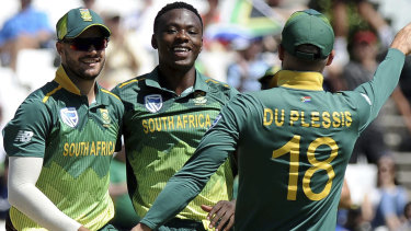 South Africa players celebrate taking the wicket of Sri Lanka's Upul Tharanga.