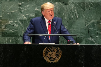 Donald Trump addresses the UN General Assembly meeting in New York.