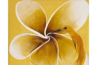 Brett Whiteley's Hummingbird and Frangipani (1986).