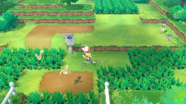 Pokemon appear in the field, and don't need to be fought to be caught.