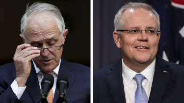 Malcolm Turnbull's final press conference as prime minister, and Scott Morrison addressing the media after winning the Coalition's leadership spill in August.