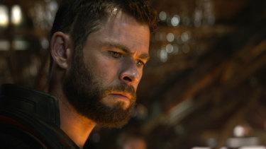 Australian actor Chris Hemsworth in a scene from Avengers: Endgame.