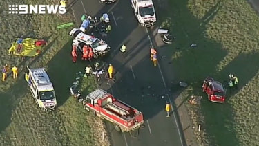 Two people have died horror crash in Cressy, west of Melbourne.