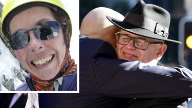 The grieving husband of mountaineer Ruth McCance (inset) paid tribute to his wife at a memorial service on Monday.