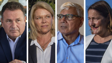 Four-way contest: Grant Schultz, Katrina Hodgkinson, Warren Mundine and Fiona Phillips.