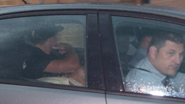 Charged: Jack De Belin leaves Wollongong Police Station on Thursday.