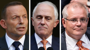 Former prime ministers Tony Abbott and Malcolm Turnbull, and current Prime Minister Scott Morrison.