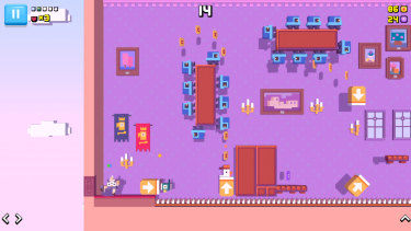 Obstacles include falling blocks, spikes, Mario-style enemies and Donkey-Kong-Country-style barrels.