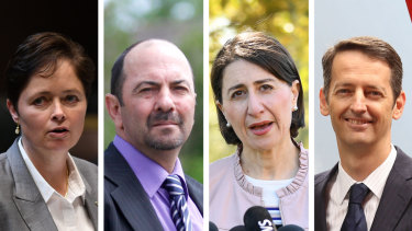 Rebel MPs Tanya Davies, Lou Amato and Matthew Mason-Cox with Premier Gladys Berejiklian (second from right).