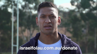 Israel Folau has appeared in a video asking for people to donate money as he begins his legal fight against Rugby Australia.