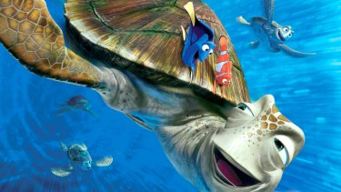 Marlin and Dory riding the turtles along the East Australian Current in Finding Nemo.