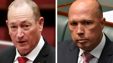 Home Affairs Minister Peter Dutton said the Greens were playing politics and were as bad as Fraser Anning.