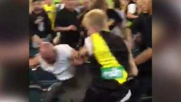 Three men involved in the MCG brawl last Thursday have received a three-year AFL ban.