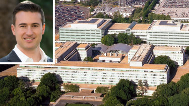 In-Q-Tel, which is backed by the CIA (its headquarters pictured), has poured money into more than 178 companies and now has an Australian office led by managing director Mike Ferrari (inset).