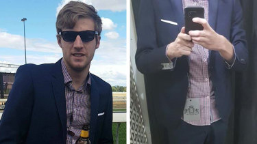 Justin Beulah posted under a pseudonym the picture on the right, his head cropped out. But his suit, shirt and pocket square matched those seen in another picture on his Facebook.