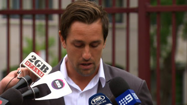 Too harsh: Mitchell Pearce faces the press after he was punished by the NRL.