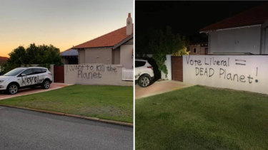 This suburban home in the federal seat of Perth has been twice targeted because of political signs its owners put on the front lawn.
