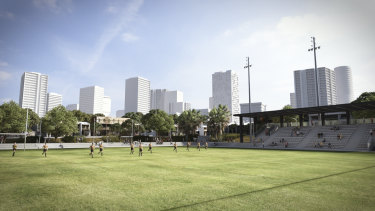 The council's modelling shows the state government's proposed buildings at the site from Redfern Oval.