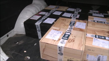Boxes of what appears to be Penfolds wine were also seized.