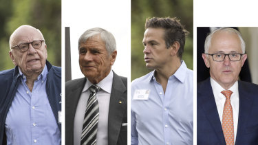 Power and influence: Media moguls Rupert Murdoch, Kerry Stokes and Lachlan Murdoch, and former prime minister Malcolm Turnbull.