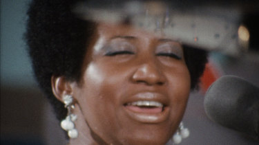 Aretha Franklin, singing in a Los Angeles church in 1972, a performance caught on film that's only now been released.