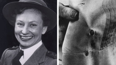 Vivian Bullwinkel, the only survivor of Radji, and her uniform showing the exit hole of the bullet which was meant to kill her.