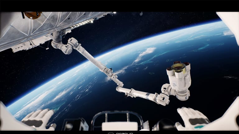 A virtual astronaut stares at the International Space Station.