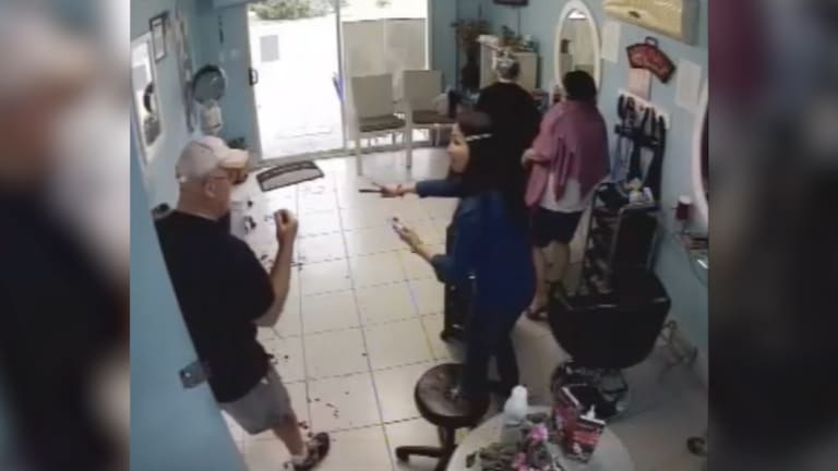 Inside the hair salon where the alleged victim sought refuge.