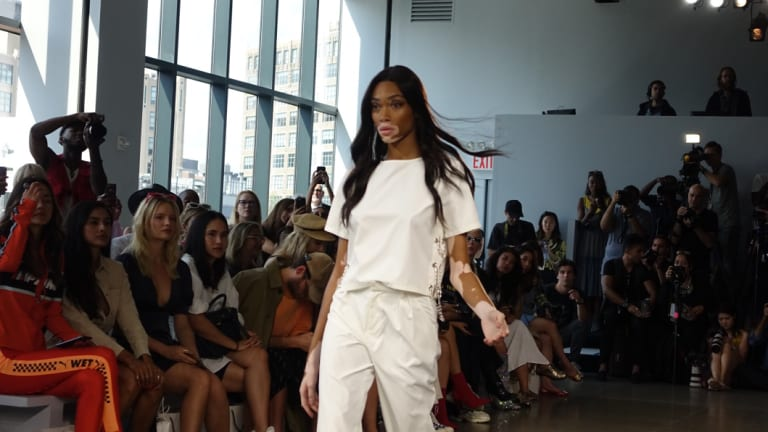 Model Winnie Harlow walks for Australian brand Nana Judy at New York Fashion Week.