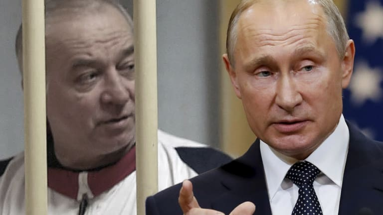 Russia President Vladimir Putin, right, says the two people charged with poisoning Sergei Skripal, left, are not spies.